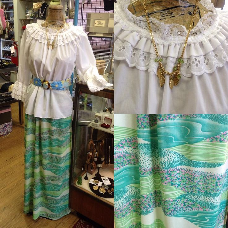 Looking like a Flower child! 🌺🌿 -1970's-80's Square Up peasant blouse Sz Small $35 -Vintage maxi skirt Sz M/L $45 -Vintage Belt $19.99 -1960's…