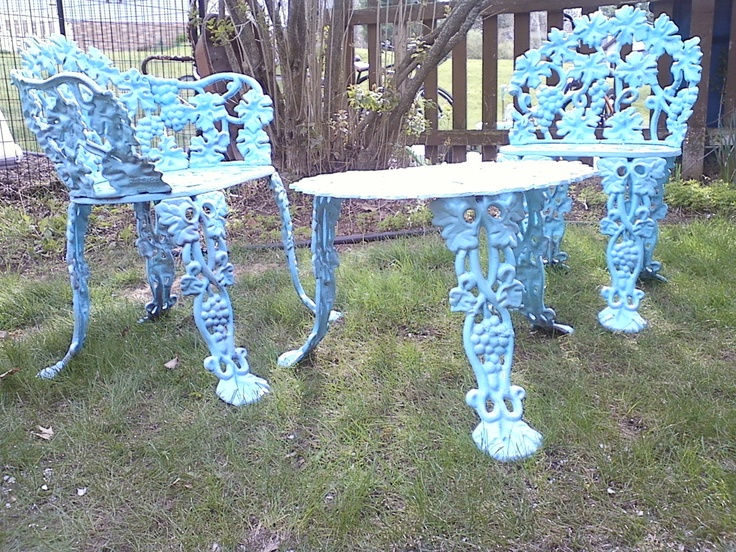 Spray Painted Vintage Cast Iron Furniture, Aqua