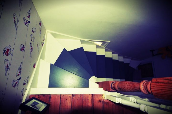 Painted stair runner, Top Hallway, Victorian House, Renovation.
