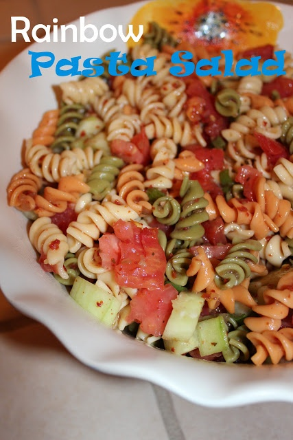 Harris Sisters GirlTalk: Rainbow Pasta Salad - perfect for summer cookouts, Memorial Day, Fourth of July