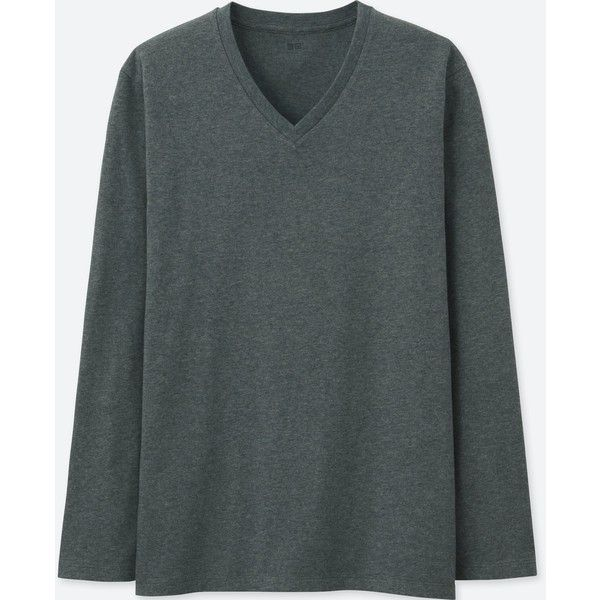 UNIQLO Men's Supima Cotton V-Neck Long-sleeve T-Shirt ($15) ❤ liked on Polyvore featuring men's fashion, men's clothing, men's shirts, men's t-shirts, dark gray, mens long sleeve cotton shirts, mens long sleeve v neck shirts, mens cotton shirts, mens long sleeve cotton t shirts and mens jersey t shirt