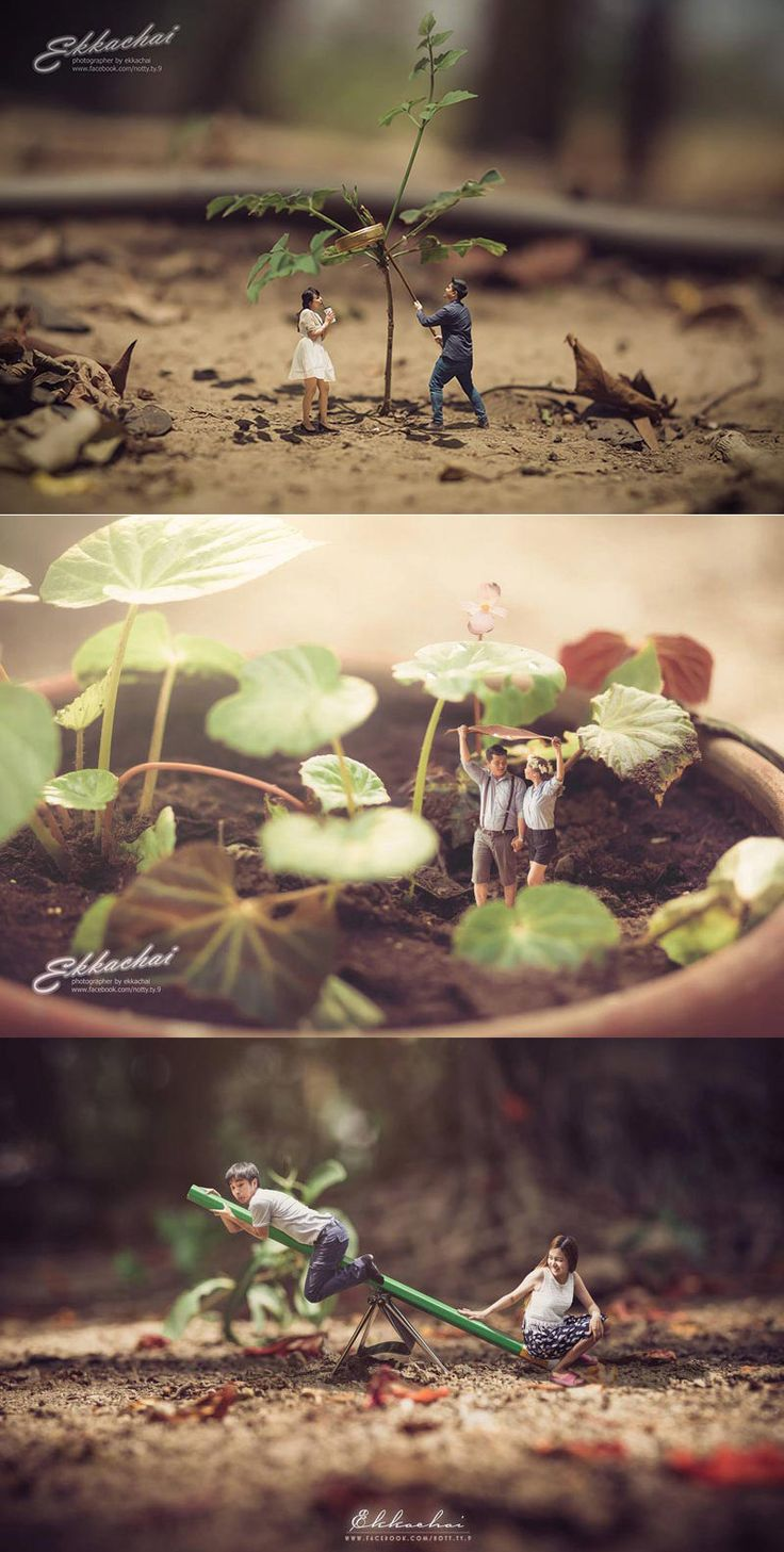 Thai wedding photographer, Ekkachai Saelow, turned the blissful couple into miniatures with his outstanding work. #Wedding #Engagement #photoshoot #Womentriangle