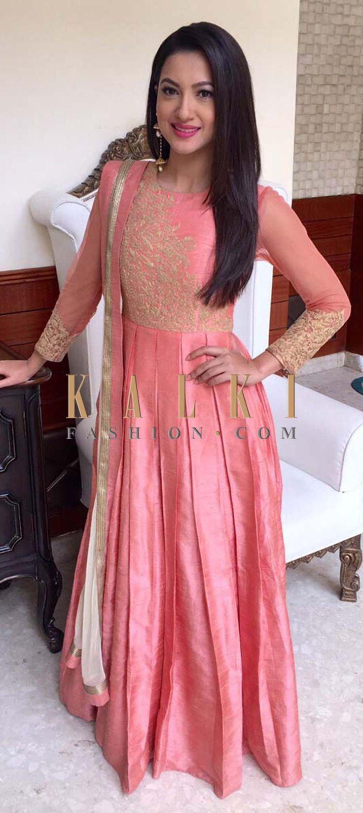 Gauhar Khan in Pretty Pink Silk Anarkali suit.