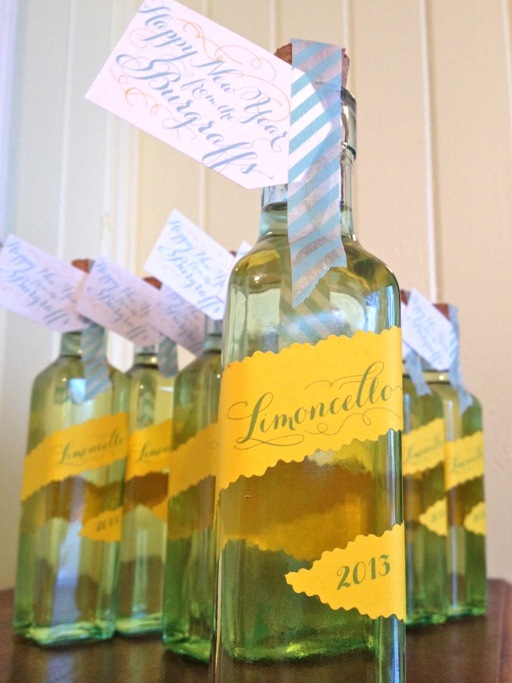 This year Andy and I gave out homemade bottles of Limoncello to celebrate the new year! We used Giada De Laurentiis' recipe and made a fun tag and label for the bottle, complete with washi tape seal. :) We always enjoy giving homemade gifts for the holidays.