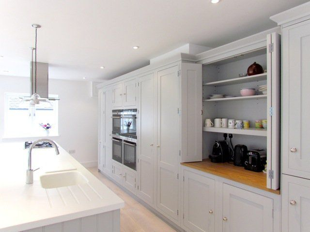 My kitchen, yet another angle and still tidy :-), Work surfaces are white Corian and full stave oak, timber inframe kitchen painted in pavilion grey with polished nickel furniture