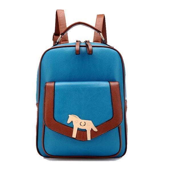 Retro Horse Hot Sale Girls Backpacks Blue Beige Khaki Black Brown