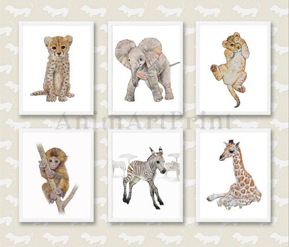Safari Animal Print Set, set of 6 prints: Elephant, Zebra, Cheetah, Giraffe, Lion, Monkey  If you wish to replace any of them with any other print we offer ( https://www.etsy.com/shop/AnimArtPrint ), please use the order notes to let us know. Unique Safari fine Art Print set created from my original Watercolor paintings. This beautiful decor set is a perfect addition to any nursery or play room, a lovely gift, suitable for any age (baby, toddler, chaild) or gender (girl, boy). The set is…