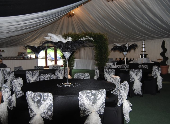 Black And White Wedding Decor With Lace Patterned White