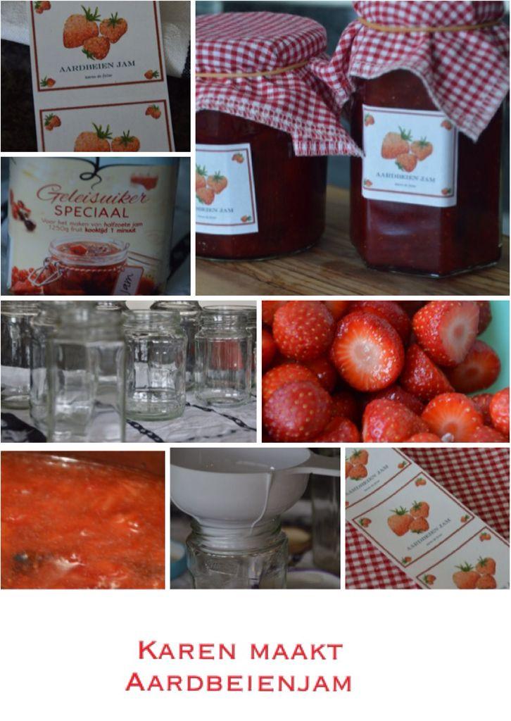 Vandaag nog maar een keer overheerlijke (halfzoete) aardbeienjam gemaakt. Gewoon volgens het recept van van Gilse geleisuiker. Heerlijk!