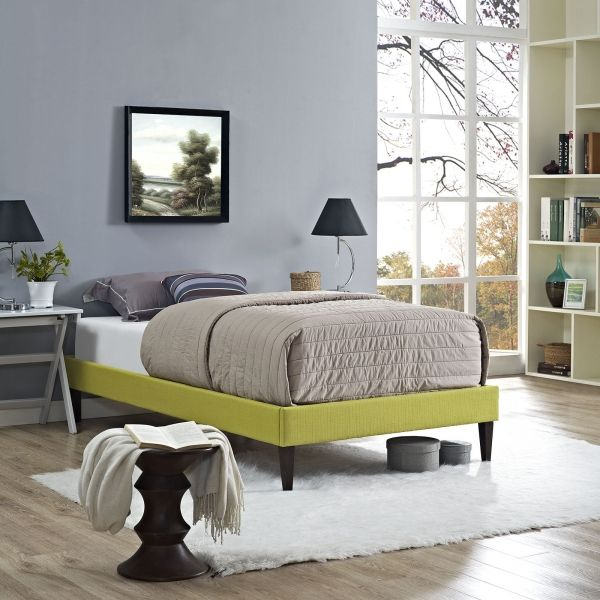 Modway Furniture 5348 Wheatgrass Green Twin Fabric Platform Bed Frame