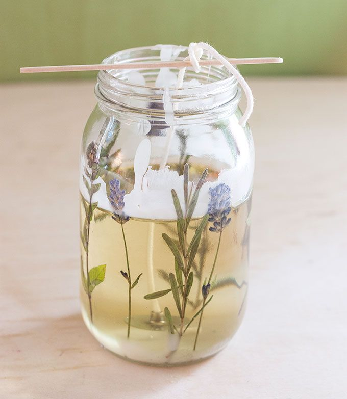 diy pressed herb candles