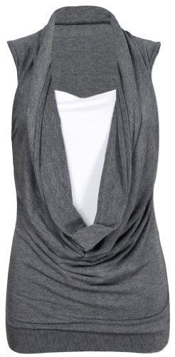 From 2.75 New Womens Cowl Gathered Neckline Contrast Insert Ladies Sleeveless Stretch Long Vest T-shirt Top Dark Grey Size 12 - 14