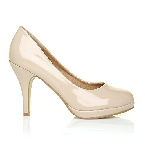 CHIP Nude Patent Leather Pumps Mid-High Heel Low Platform Office Court Shoes £39.99 [UK & IRELAND]