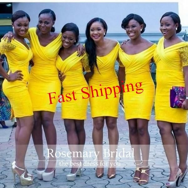 Yellow Hot Sale Short Bridesmaids Dresses Knee Length Slim Sheath Wedding Party Gowns Sexy Off The Shoulder Backless With Lace Short Sleeves Kids Bridesmaid Dresses Knee Length Bridesmaid Dresses From Rosemarybridaldress, $72.26| Dhgate.Com