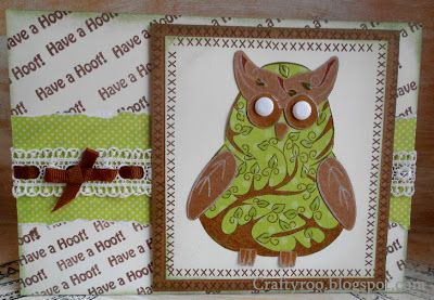 A handmade owl card made using the new owl stamps from Dimension stamps/ Nina crafts