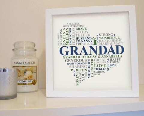 Framed Grandad gift. Personalised Grandad birthday gift. Unique Grandpa birthday gifts. Framed present