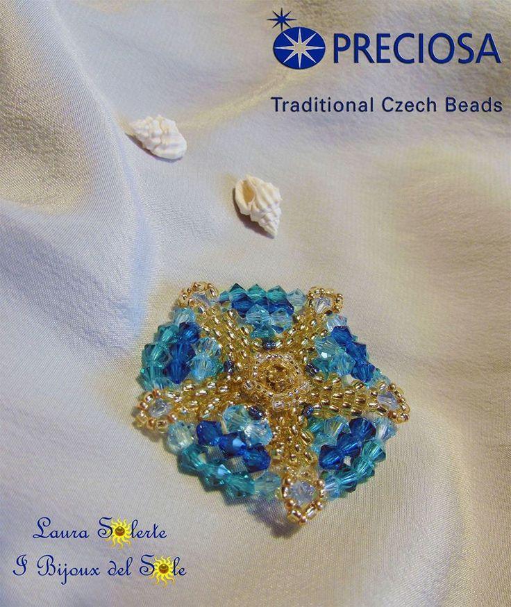 """Ciondolo """" Sole nel mare """" : perline e cristalli #preciosa - Laura Solerte diritto d'autore 2014 #laurasolerte"""