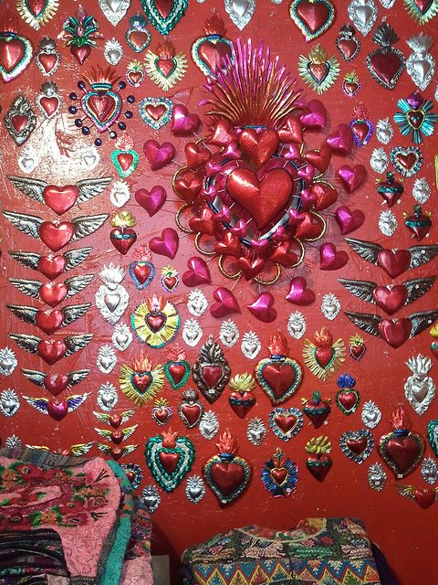 Tin hearts are a home decor favorite.