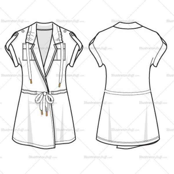 Short sleeve Utility Wrap Top with drawcord at waist. Rolled up short sleeve with epaulettes. Drawstring at neck as well.This file comes with a drawcord/drawst