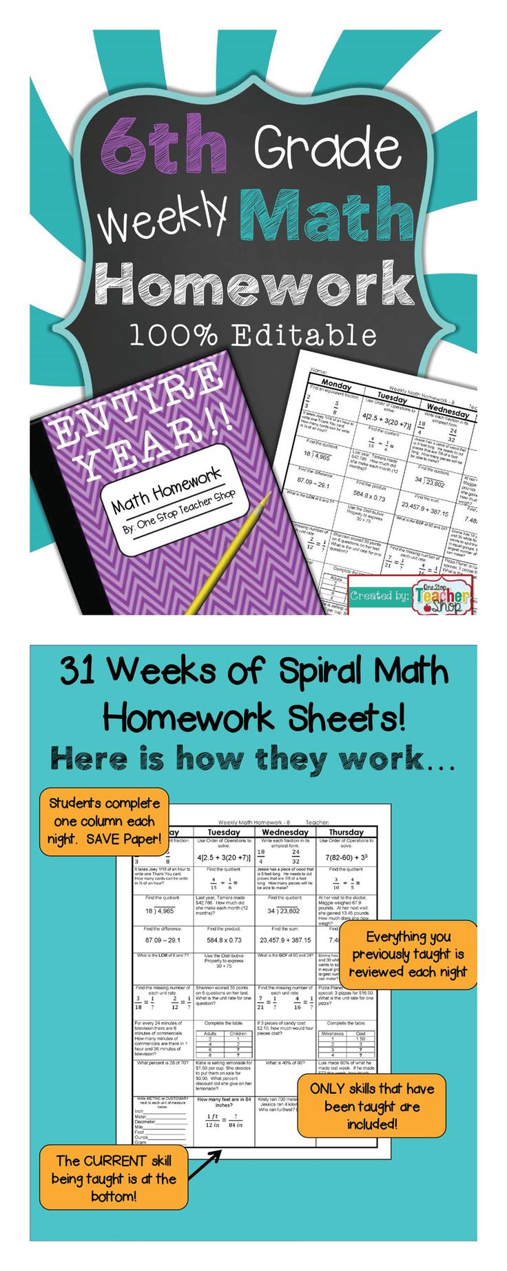 6th Grade Common Core Spiral Math Homework - ENTIRE YEAR!!! 100% Editable, w/ Answer Keys! $