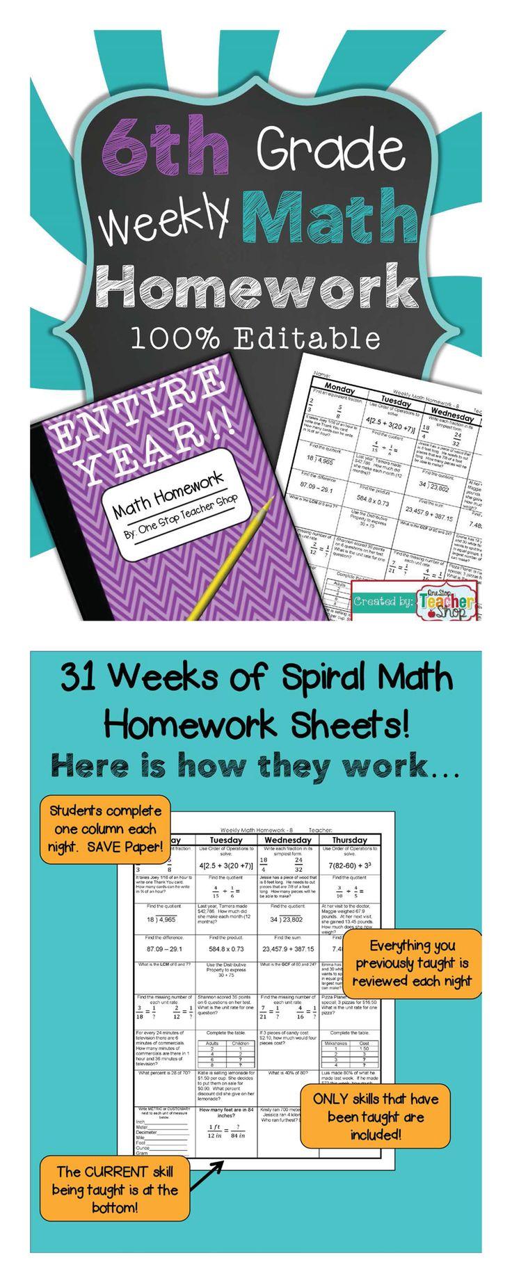 6th Grade Common Core Spiral Math Homework - ENTIRE YEAR!!! 100% Editable, w/ Answer Keys! $