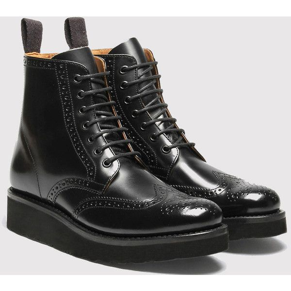 Womens Grenson Emma Brogue Boot - Black/Black (6.960.200 VND) ❤ liked on Polyvore featuring shoes, boots, black, wingtip boots, black shoes, kohl boots, black brogue boots and brogue boots