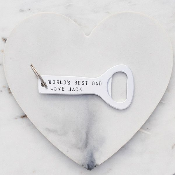 World's Best Dad Personalised Bottle Opener hand stamped in silver