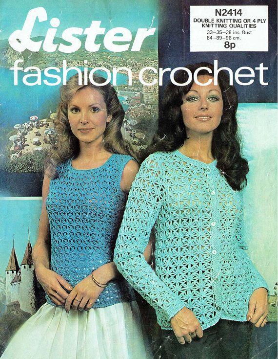 PDF Vintage 1970s Ladies Floral StarTwin Set Crochet Pattern