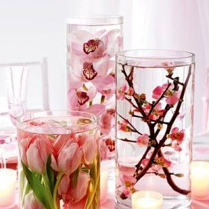 flowers in water centerpieces: Cherries Blossoms, Flowers Centerpieces, Dollar Stores, Silk Flowers, Fake Flowers, Flowers Vase, Diy Wedding, Diy Centerpieces, Center Pieces