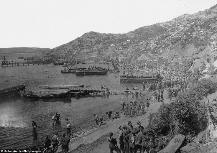 This is one of several photos released today (April 25th, 2013) to commemorate the 98th anniversary of Gallipoli. Allied troops landing at ANZAC Cove in the Gallipoli Peninsula in 1915.