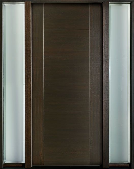 Modern Euro Collection Mahogany Wood Veneer Solid Wood Front Entry Door - Single with 2 Sidelites - DB-EMD-711 2SL