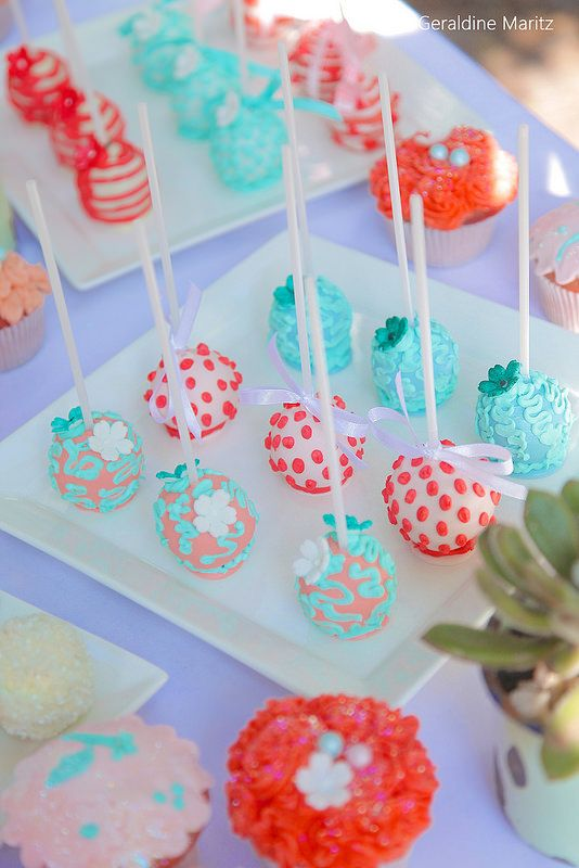 Wedding, Coral and Turquoise Wedding Cake Pops, Succulents