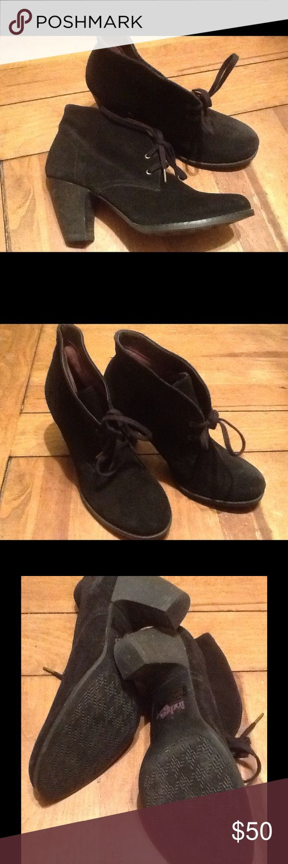 Indigo by Clarks bootie Black suede with laces.  3 inch heel.  Super comfy.  Great condition. Clarks Shoes Ankle Boots & Booties