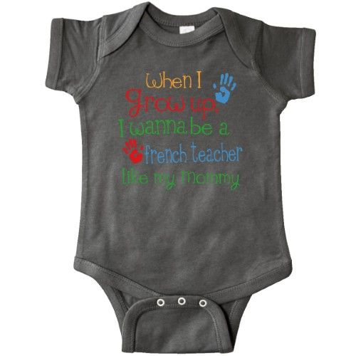 Inktastic French Teacher Like Mommy Infant Creeper Baby Bodysuit Child's Kids Gift Teacher's Daughter Childs My Cute Occupation Apparel Job Future Handprints One-piece Hws, Boy's, Size: 18 Months, Black