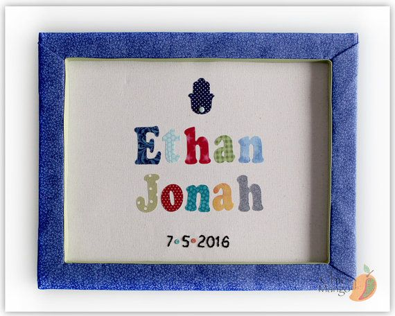 Name Sign for Baby Boy, Personalized Wall Art, Gift For Twins, Jewish Gift, New Baby Gift, Date of Birth Sign, Hamsah, DOB, Ethan Jonah