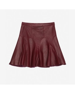 10 Crosby Tulip Flared Leather Skirt: Bordeaux