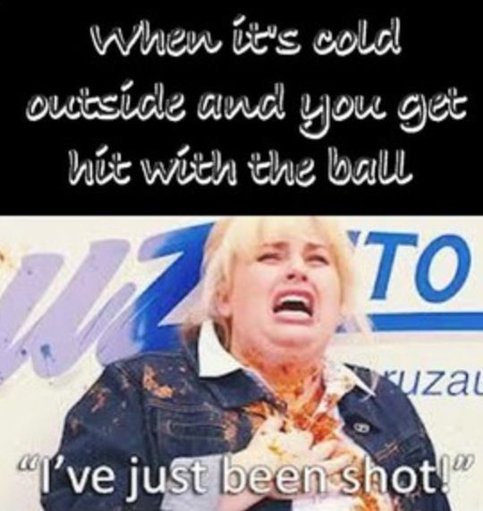 So painful!! Hahahaha the mix of Pitch Perfect and softball!