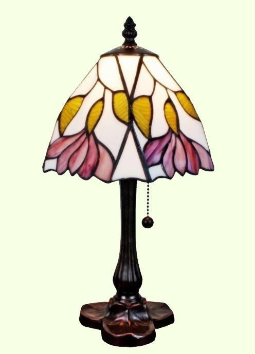 Nice SMALL STAINED GLASS TABLE LAMP Tiffany Style Handcrafted Accent Shade Desk  Light #AmoraLighting #Buffet