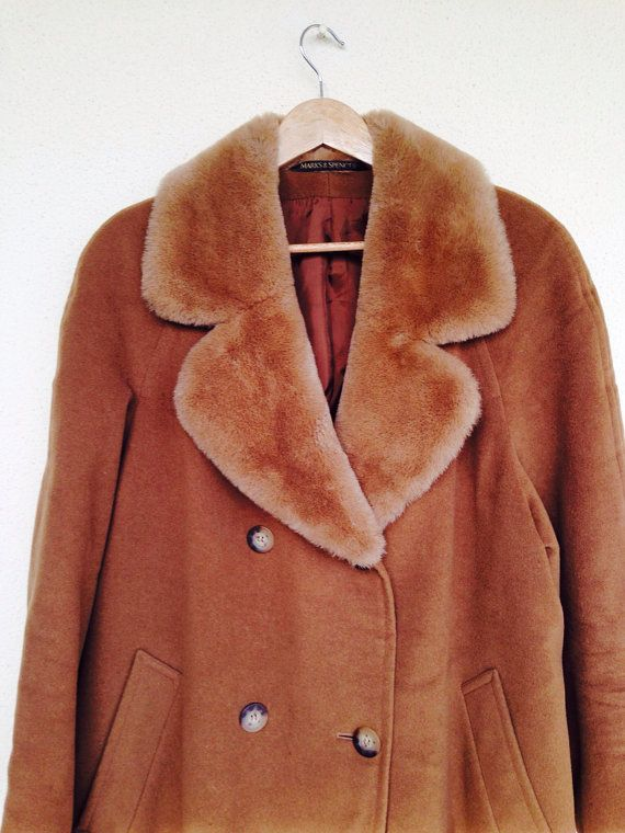 Vintage 1980 camel ladies coat wool St Michael Marc's and Spencer Xl  on Etsy, 55,00€