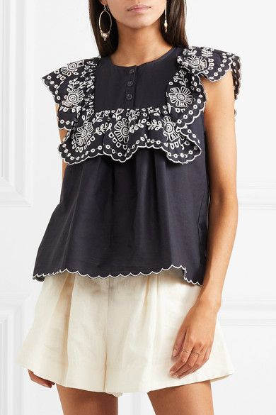 324e7ad56 SEA - Ruffled broderie anglaise-trimmed cotton top | Products | Tops ...