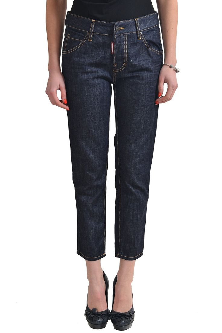 "Dsquared2 ""Glam Rock Jean"" Dark Wash Women's Cropped Jeans US 4 IT 40. Material: 100% Cotton. Made in Italy. Measured Waist: 31"" Rise In Inches: 9.5"". Inseam: 25"" Leg Opening: 6""."