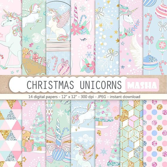 Christmas Digital Papers Christmas Unicorns Paper Pack Unicorn #christmas #unicorn #unicorns #digital #papers #illustration #printable #pattern #seamless #winter #pegasus #planner #stickers #craft #supplies #download #polkdots #fabric #masha #studio #planning #girl #planner #cover #scrapbooking #gift #wrapping