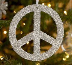 LOVE THIS... Its a peace sign ornament out of craft foam, glue, and glitter. Im hanging these from her ceiling with fishing string.