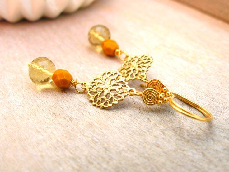 Boucles d'oreilles en Quartz jaune et en Or : Boucles d'oreille par callenana