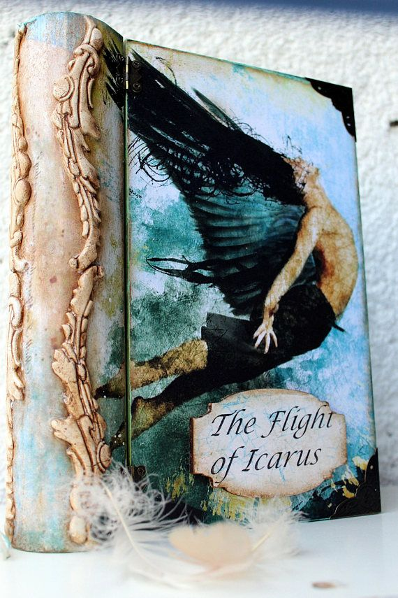 The Flight of Icarus, Mythical flyer, Mythology, Book box, Ancient hero, Wings, Sky, Desire, Suffering,Icarus, Make Believer,Home Decor,Pain