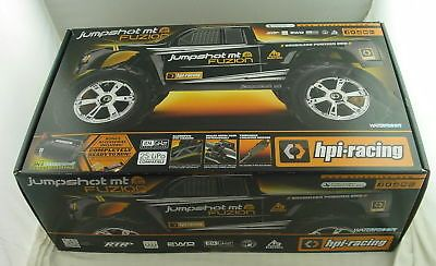 ﹩254.99. HPI Racing Jumpshot MT Flux Fusion Brushles 1/10th 2WD Monster Truck HPI116210    Type - Truck, Scale - 1:10, Fuel Type - Electric, Required Assembly - Ready to Go/RTR/RTF (All included), 4WD/2WD - 2WD, Motor Type - Brushless, UPC - 4944258037745