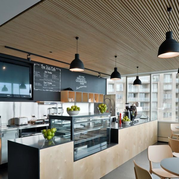 EuroPanel - euroHush  Hospitality - restaurant - ceiling  euroHush is suitable for all decorative and acoustic applications and provides a stylish, contemporary finish to your project while offering superb acoustic insulation and a maintenance free wall and ceiling lining solution.