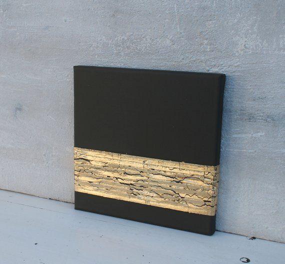 Blattgold Malerei, Abstrakt, Acrylmalerei, 20x20x1,5cm, Original Gemälde, Strukturbilder, #49, Spachtelmaße, Gold, Acrylmalerei, schwarz