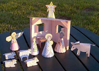 Free Printable Nativity set that stands.