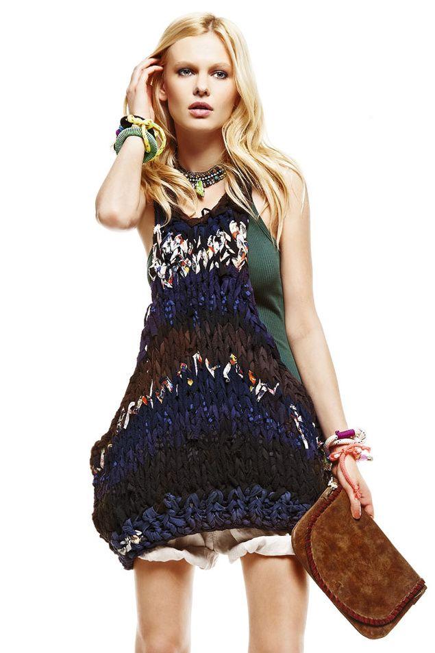 Hand knit dress. stockingette stitch, bulky yarn. upcycle idea